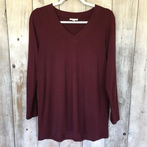 J. Jill Red Wine Long Sleeve Tunic Size Small